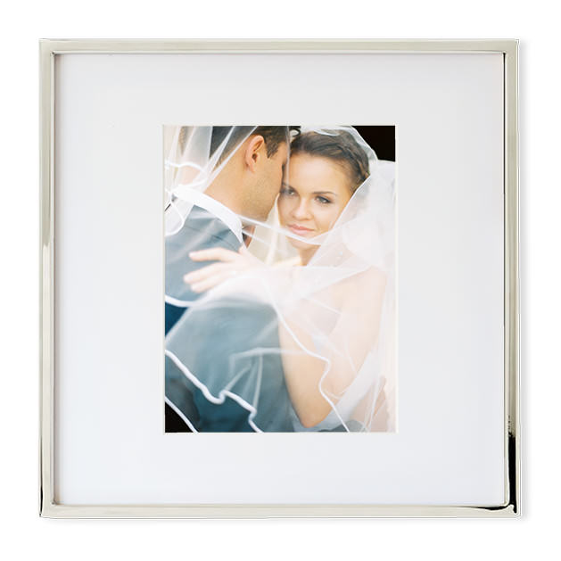 fine art wedding picture frame silver bride and groom