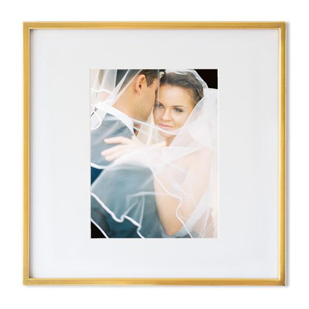 fine art wedding picture frame gold brass couple under veil