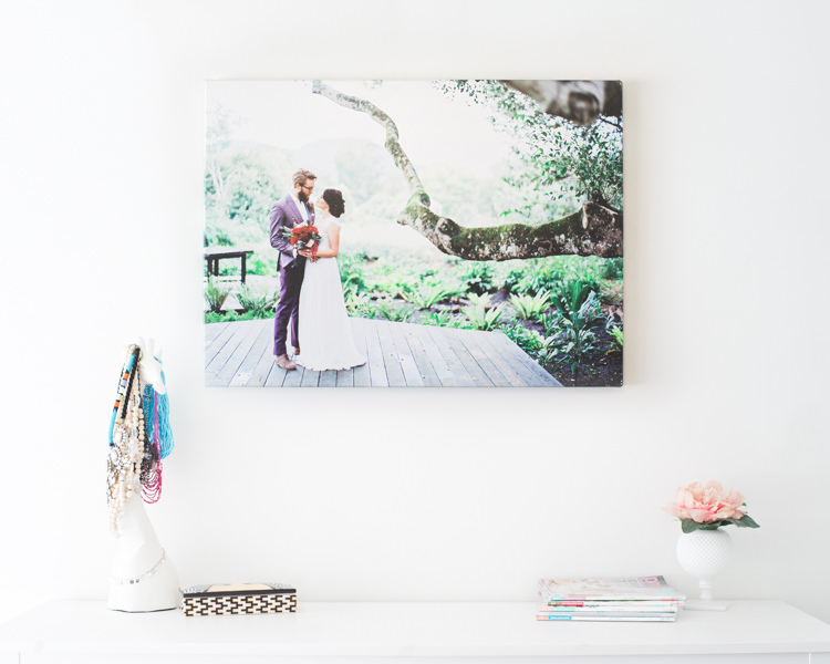 beautiful wedding photograph eumundi dairy retreat fig tree bride groom wall canvas over dressing table white wall