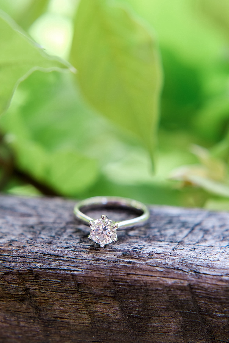 000002 Brisbane Fine Art Wedding Photograph of engagement ring on long with greenery in the background.jpg