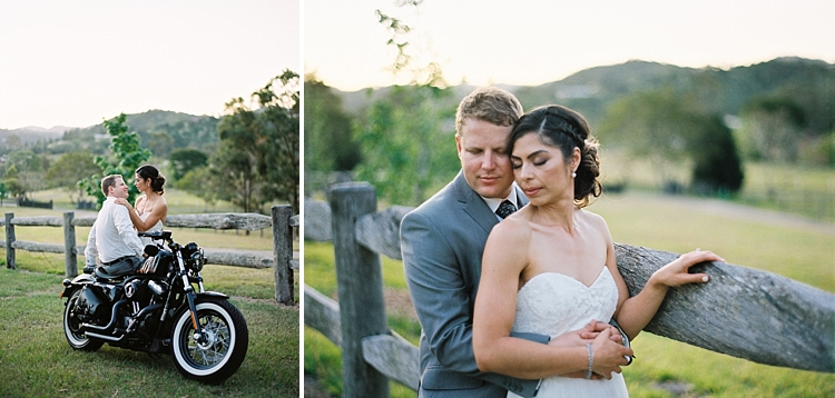 000021 Brisbane Fine Art Wedding Photograph of wedding couple on motorbike whle gazing into each others eyes and embracing.jpg
