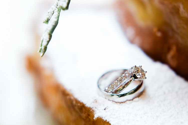 000028 Brisbane Fine Art Wedding Photograph of wedding rings sitting on cake icing.jpg