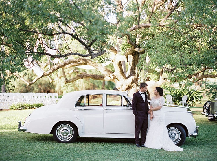 Brisbane Gold Coast Fine Art Film Wedding Photographer Contax 645 Love Couple Wedding Dress rolls royce posing car fancy bride groom I do