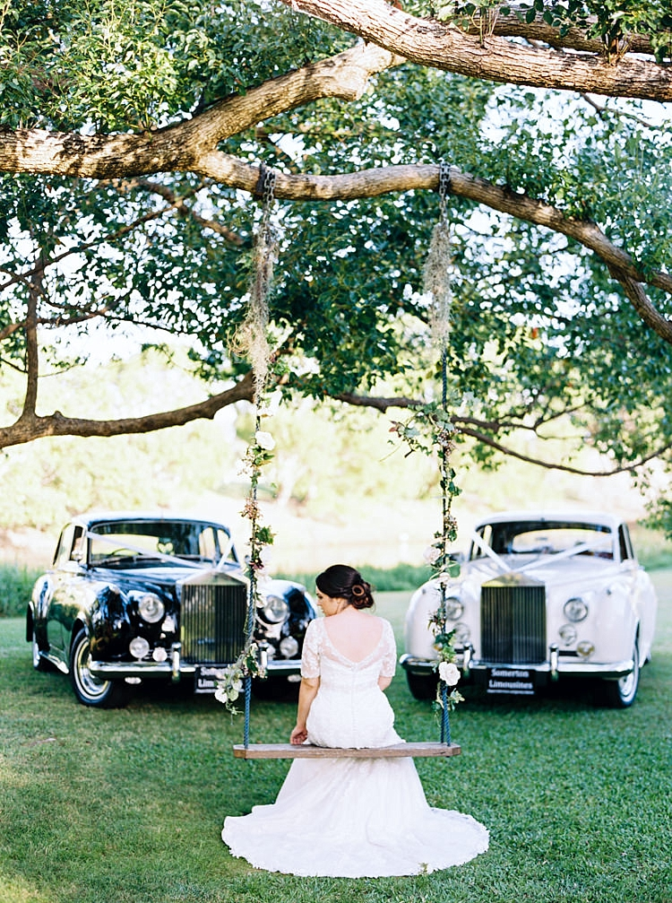 Brisbane Gold Coast Fine Art Film Wedding Photographer Contax 645 Love Couple Wedding Dress swing set bride black and white rolls royce ribbon bouquet beautiful