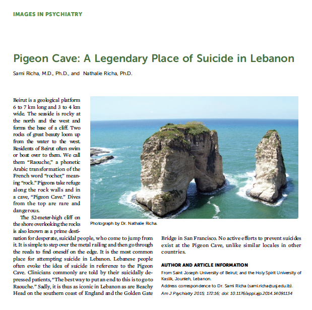 Pigeon Rock and its cultural links to suicide featured in the American Journal of Psychiatry - Courtesy of Dr Sami Richa