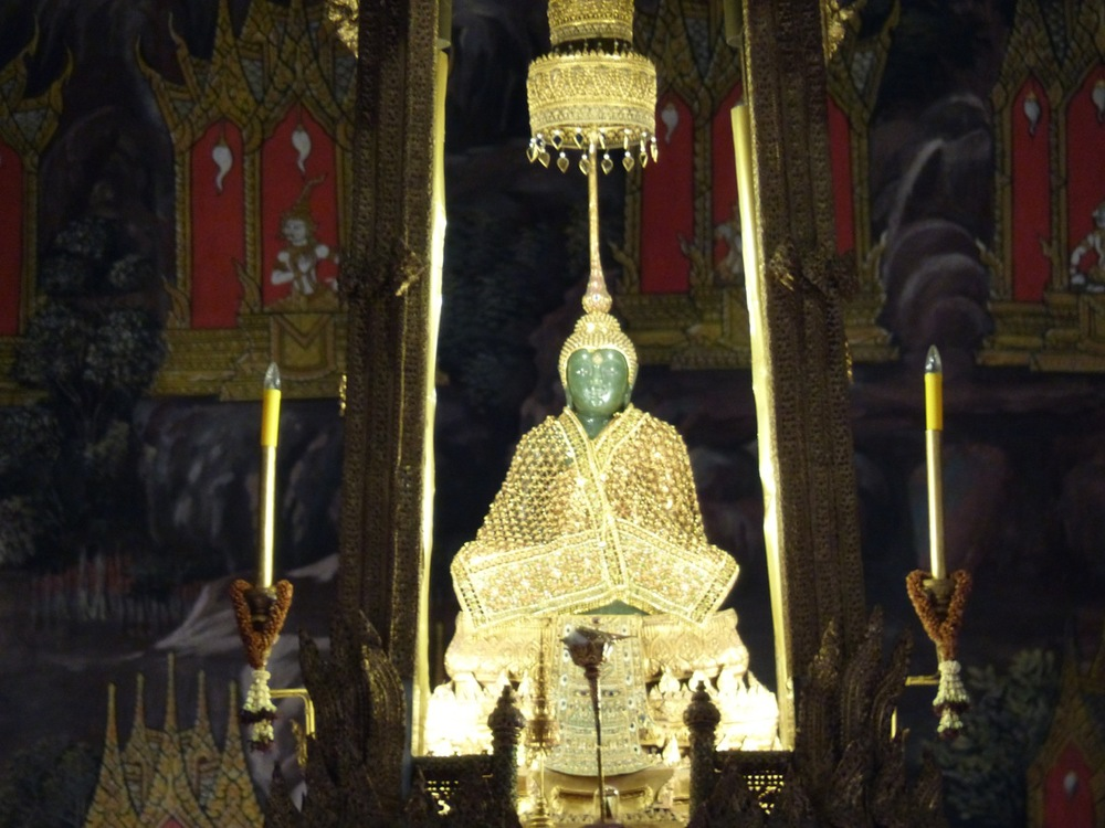 The famed Emerald Buddha.  Dressed for the winter season