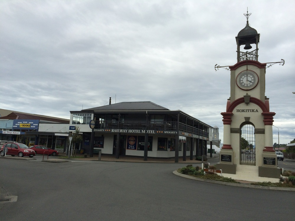 The now small (population 5,000 vs. 50K in gold rush days) Hokitika beach town