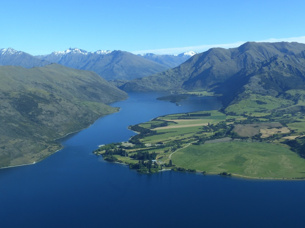 View of Lake Wanaka from the sky
