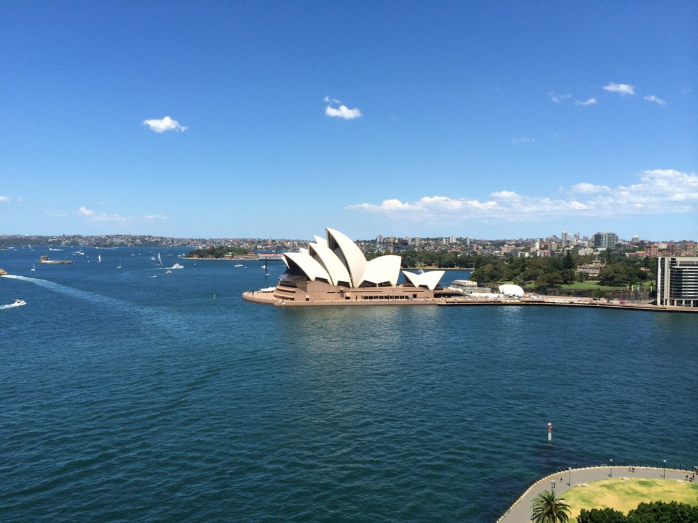 The Opera House shot from the Sydney Harbour Bridge (touristy, but still breathtaking)