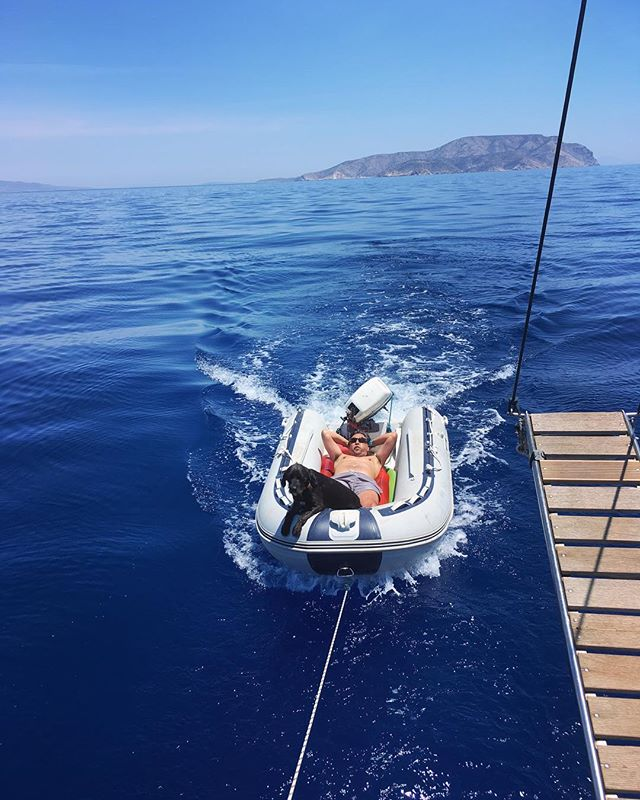 """A smooth sea never made a skilled sailor""  But it certainly puts a smile on our face!!!!! #smoothsea #sailinglife #traveldog #cyclades #greekislands #sailingholiday #naxos  #iraklia #santorini #lifestyle #namaste #yoga #dinghy  #natgeotravel #discovertravel #hellas #Greece #traveller  #wanderlust #wanderer  #soulstepper"