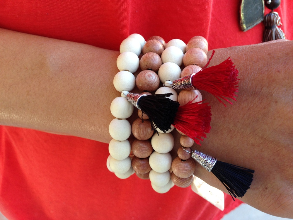 A closeup of our sustainable mala bead bracelets.