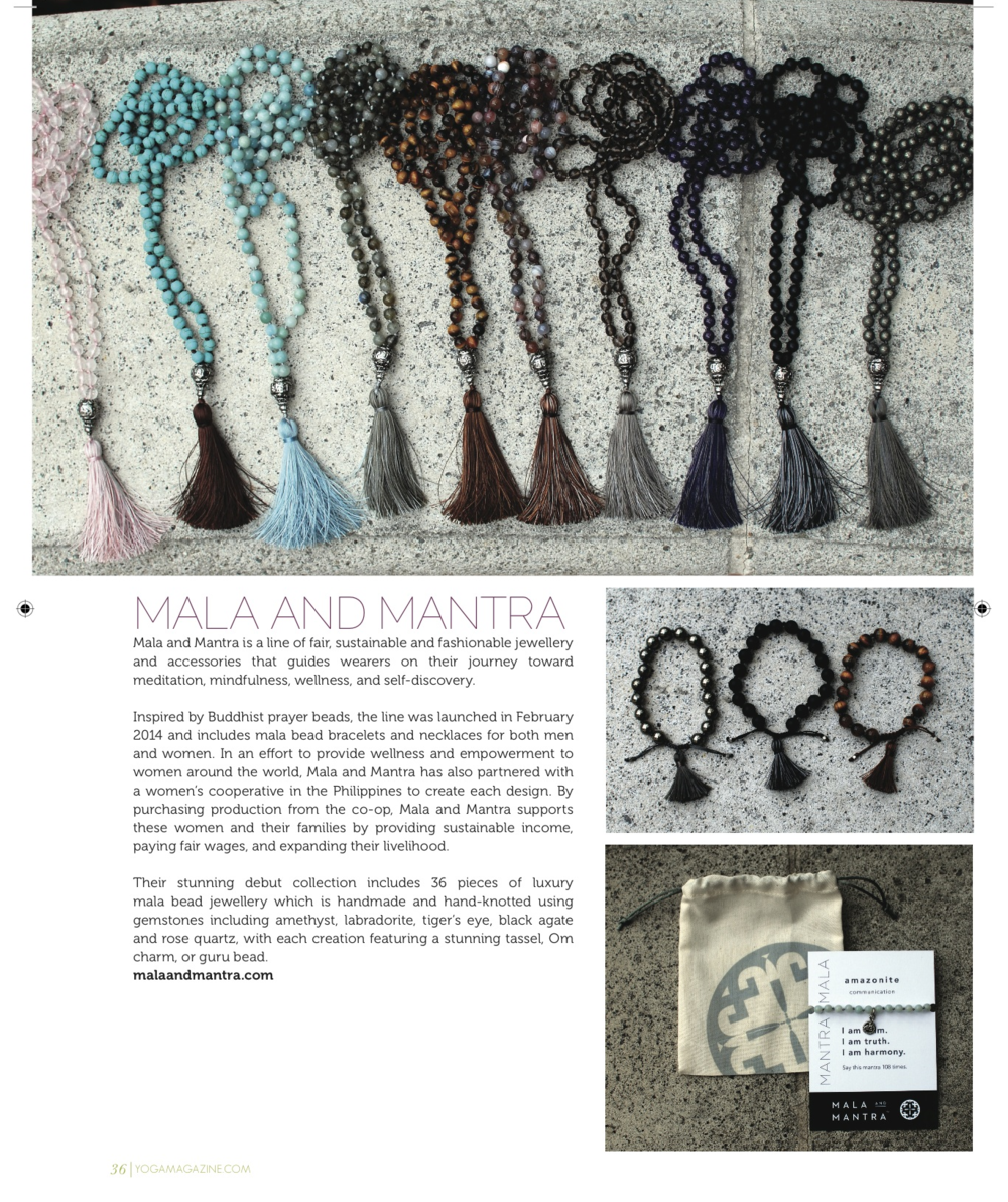 Mala and Mantra's spotlight in the August issue of  Yoga Magazine .