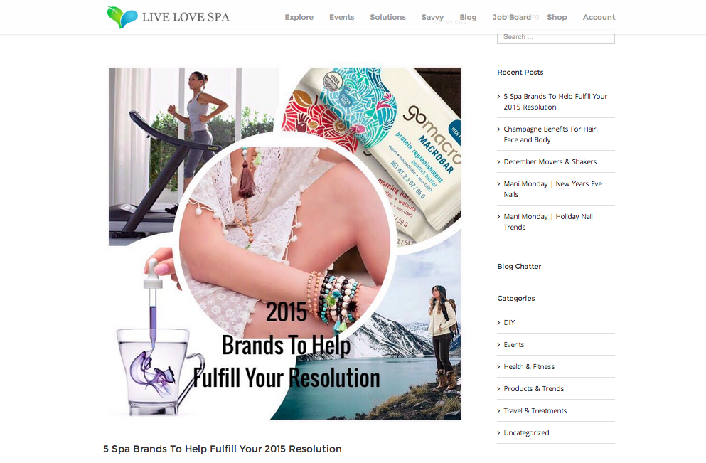 Live Love Spa  , January 2015