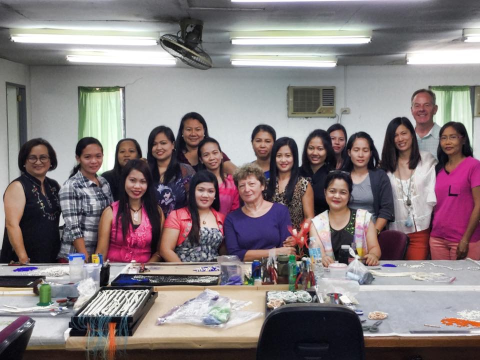 M+M founder JPC working alongside the Fair Trade artisans at our partner cooperative in the Philippines.