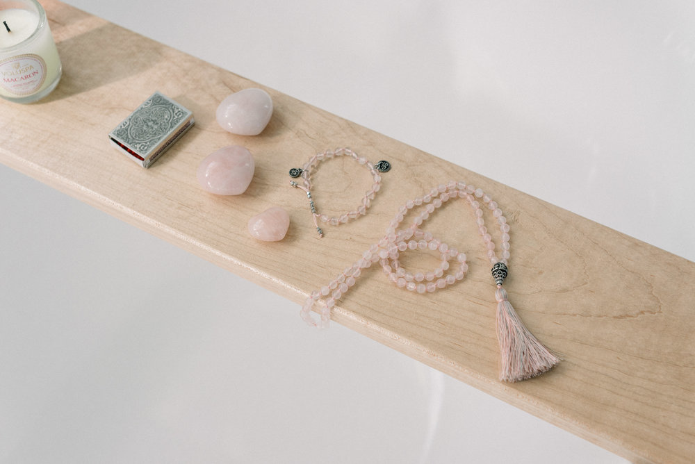 Featuring the    Rose Quartz Mala Necklace    +    Rose Quartz Om Charm Bracelet   .