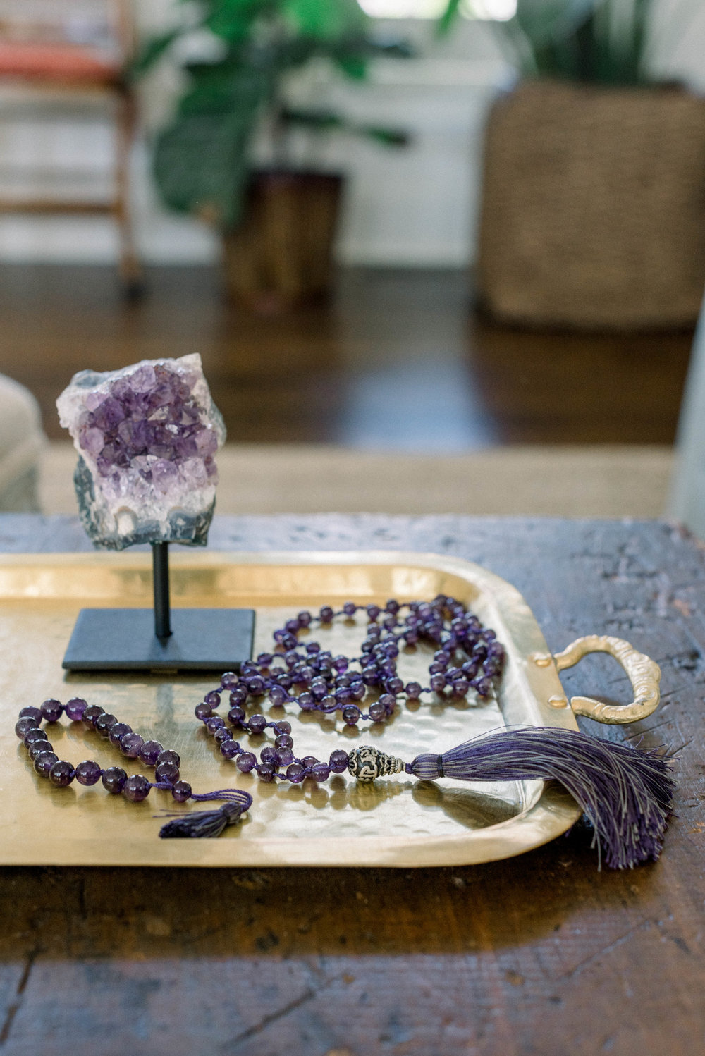 Featuring the Amethyst Loose Knot Mala Necklace +  Amethyst Mini Tassel Bracelet .