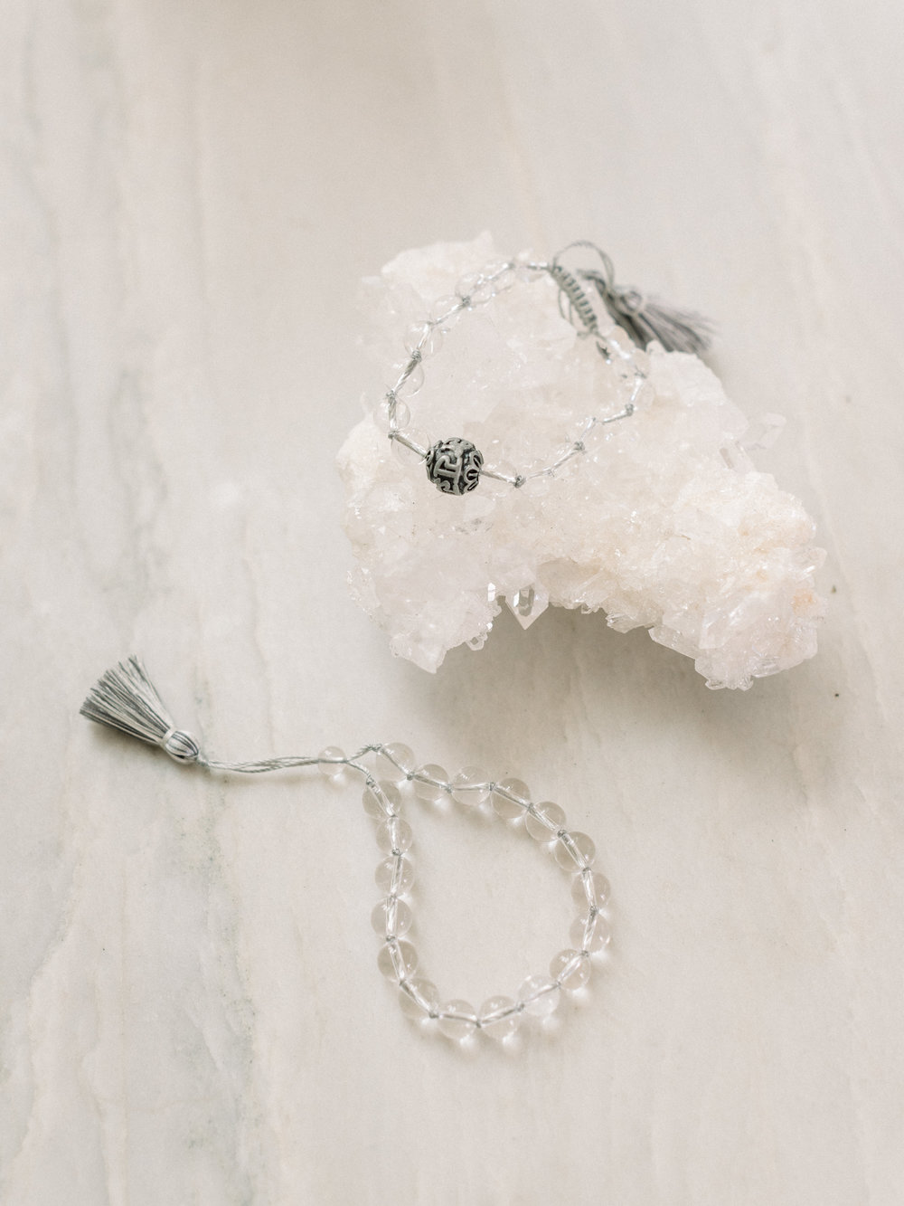 Featuring our  Crystal Quartz Double Tassel Bracelet  +  Crystal Quartz Mini Tassel Bracelet .