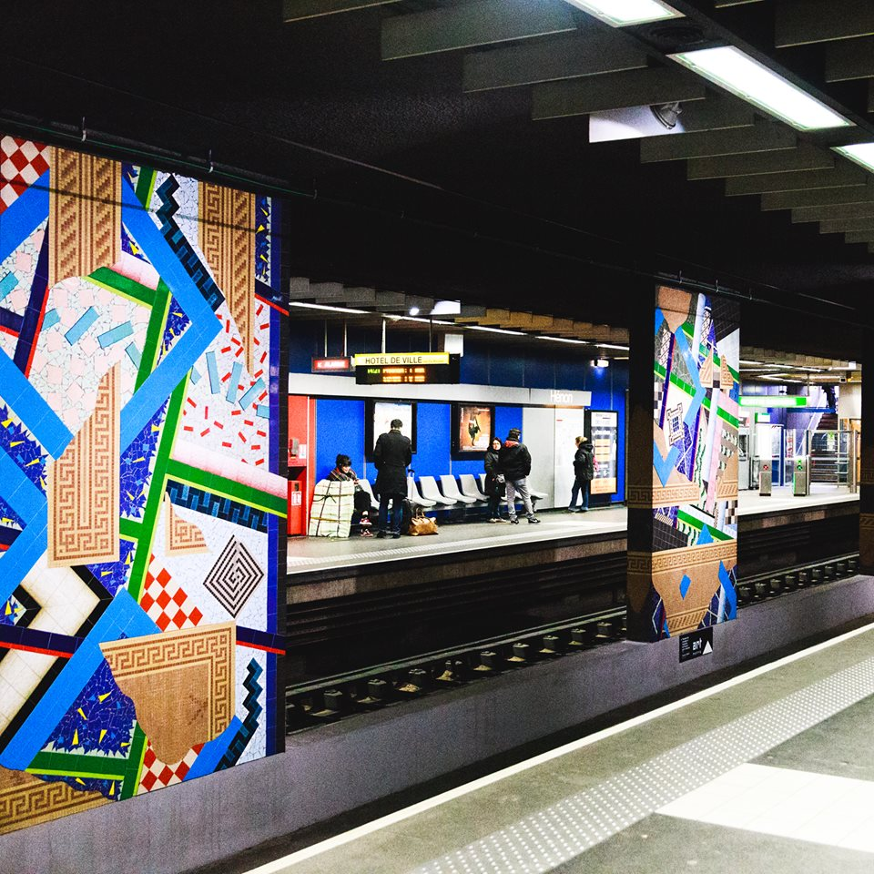 Inside the artistically decorated metro