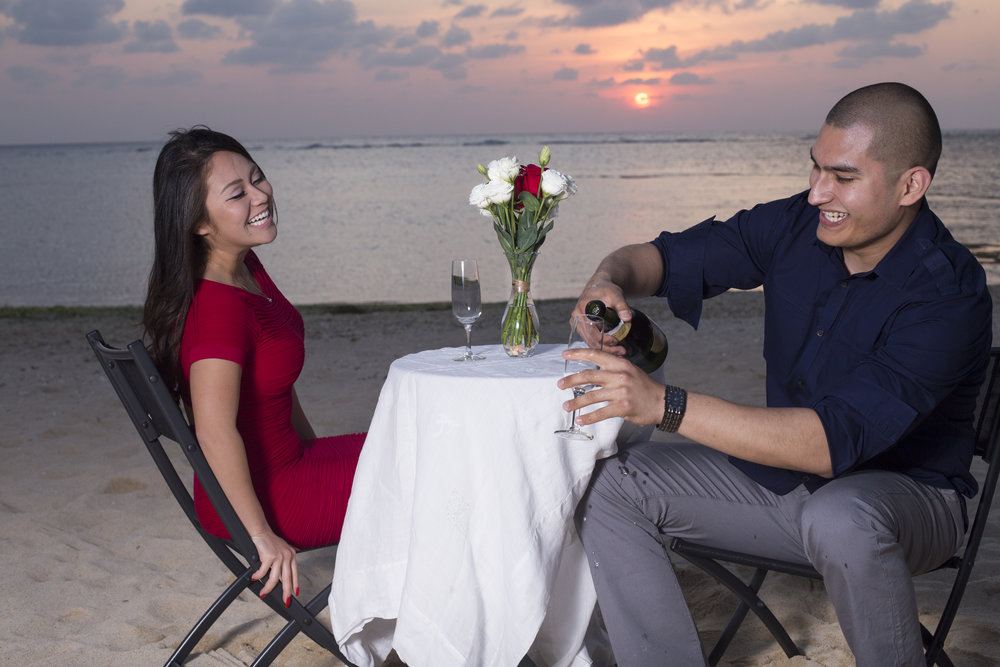 Tarun's and Miki's engagement session on the beach in Okinawa.