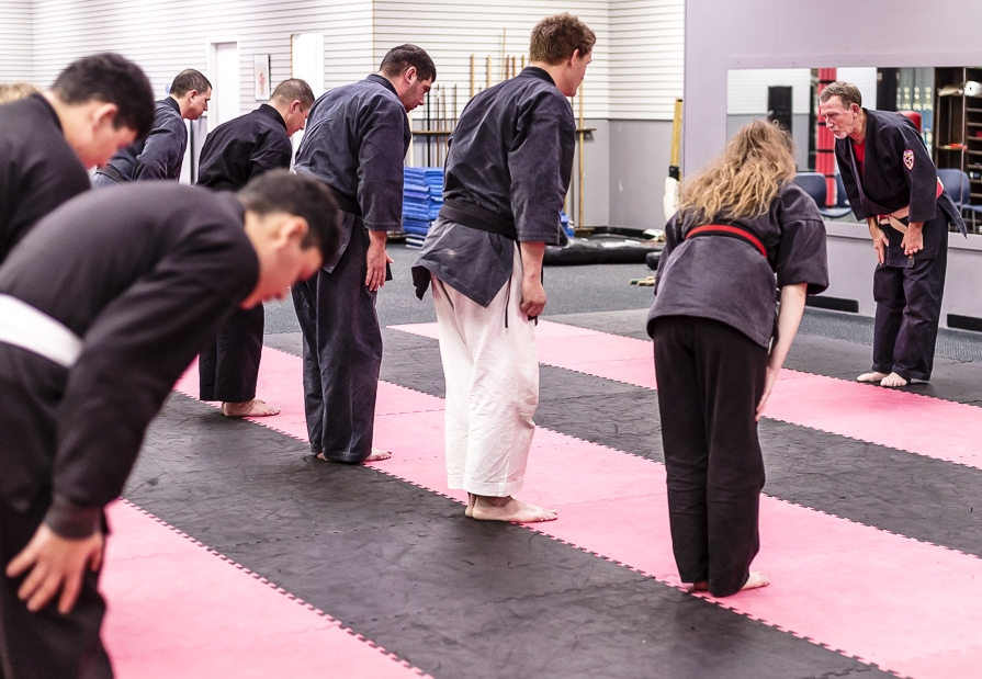 Sensei Tim Cunningham bowing in and starting his Friday night class.