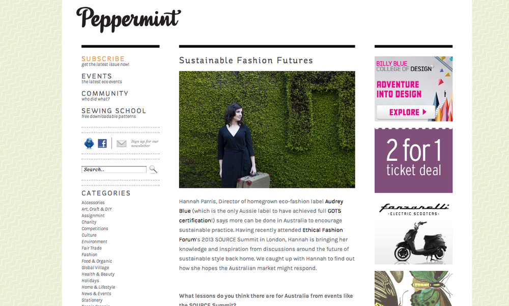 """Sustainable Fashion Futures"" Peppermint Magazine Blog 31 July 2013"