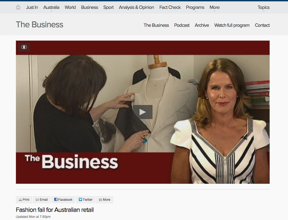 ABC's The Business, recognised the importance of understanding where our clothes comes from and delivered that message directly to Australia's top business people. And we were show cased as how things, can, and should be done (squeeee!).  Click through the image to the item on the ABC website (we are at minute 3.22)