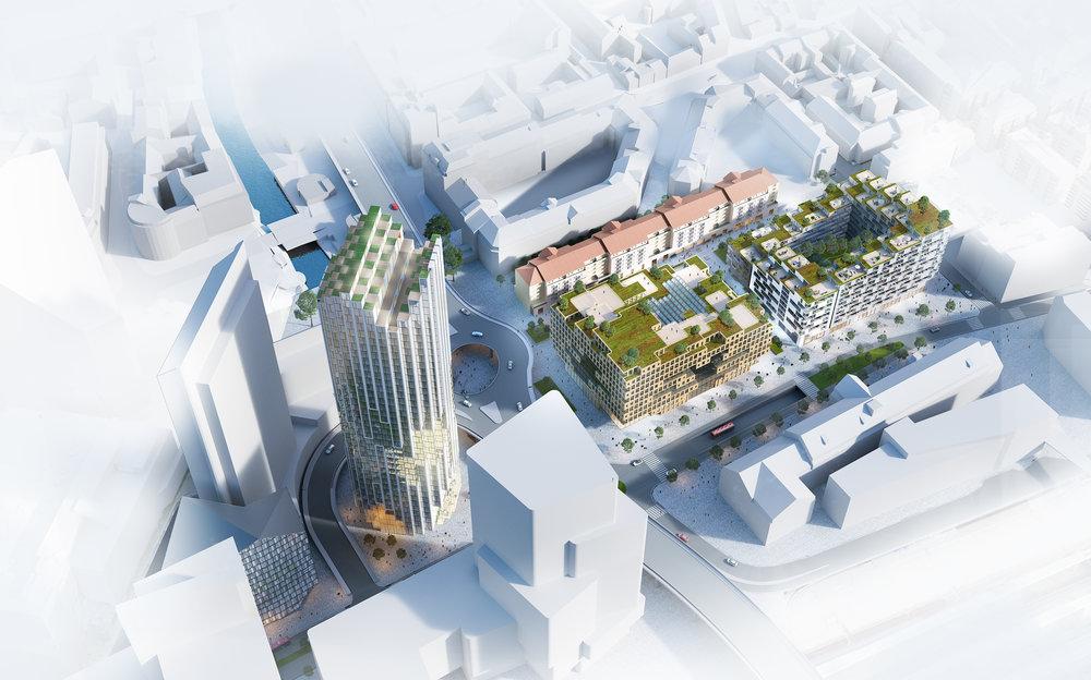 Perspektiv som viser Arcasa sitt konkurranseforslag for nye Galleri Oslo.