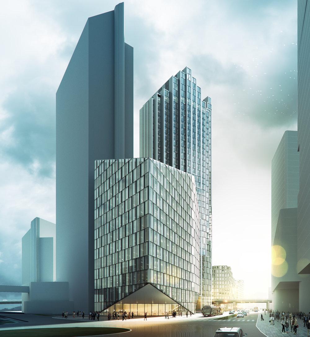Pilen, med Elveporten og Plaza Hotell i bakgrunnen. Sett nedover den oppgraderte Schweigaardsgate.