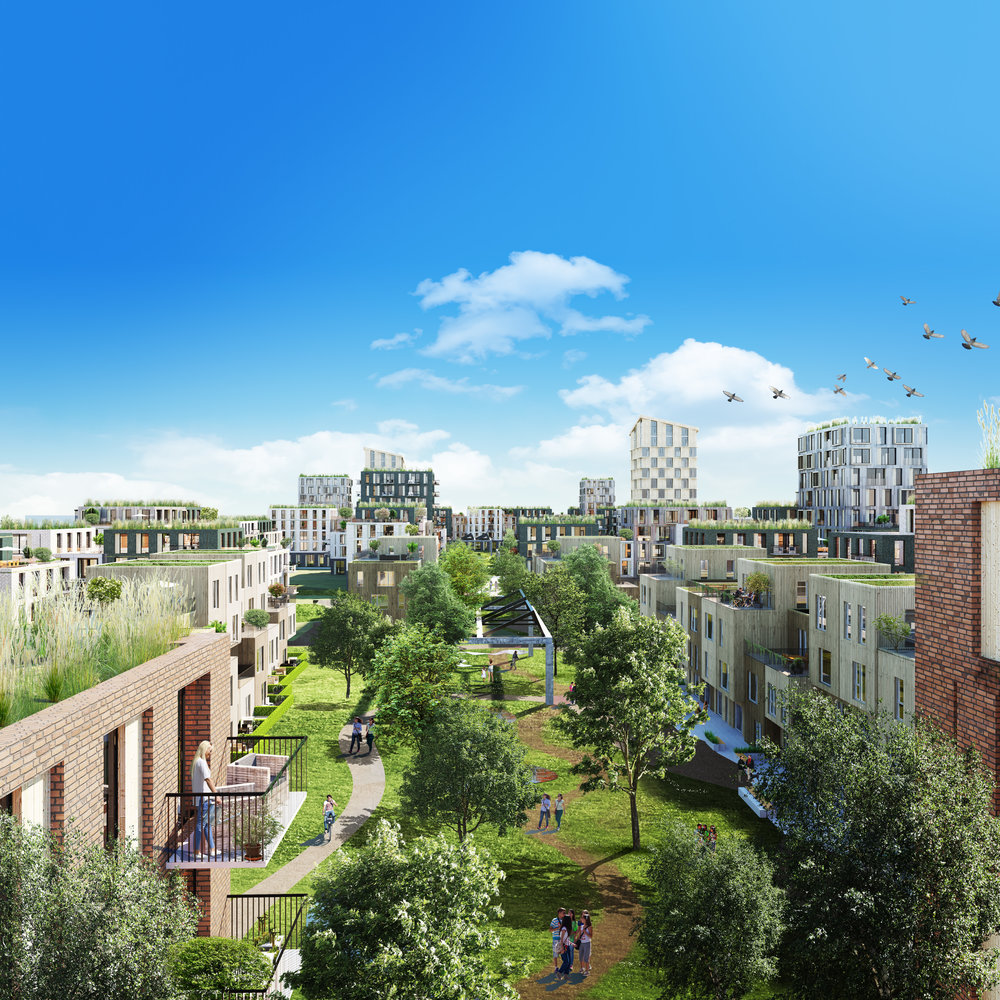 Høyden Hage. Townhouse, rekkehus, tårnbebyggelse og lavblokkbebyggelse og store grøntområder