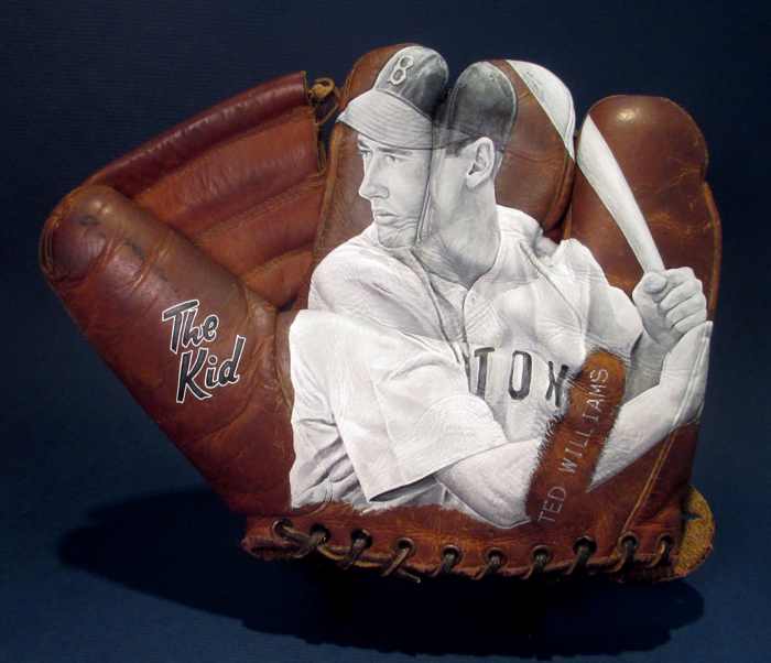 Baseball Glove Paint : Baseball glove art featuring quot the kid ted williams — sean