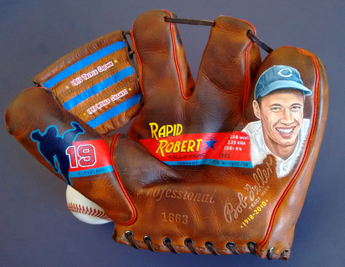 Bob Feller Baseball Glove Art [SOLD] Info >