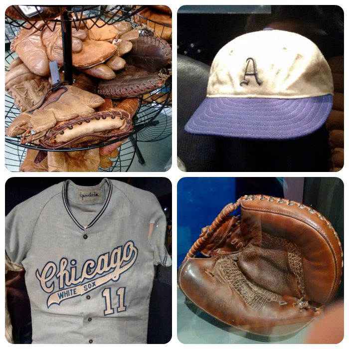 Shop selling gloves, Al Simmons' hat, Aparicio's '70 uniform, and the glove Yogi Berra used to catch Don Larsen's perfect game in the World Series, which looks like it had a few trips to the seamstress during the season.