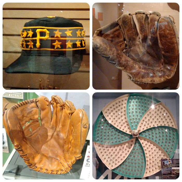 Pirates '79 hat, Willie Mays' glove he made 'The Catch' with, Brooks Robinson glove, and a blast from my past -- pinwheel from old Comiskey Park scoreboard.