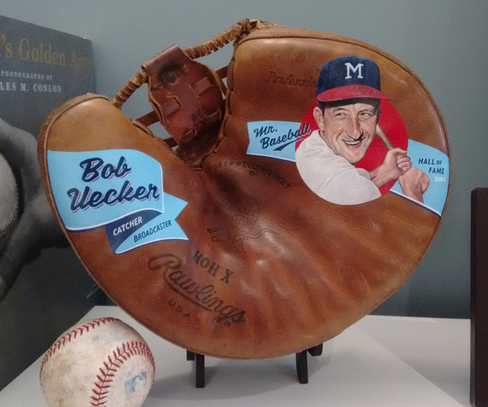 Sean-Kane-Bob-Uecker-Major-League-Painted-Baseball-Glove-Art-on-stand.jpg