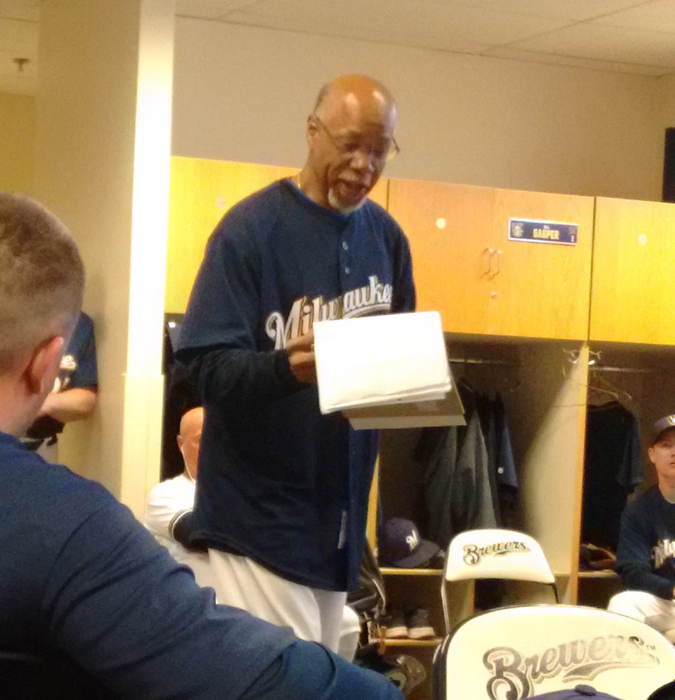 Cecil Cooper at clubhouse meeting