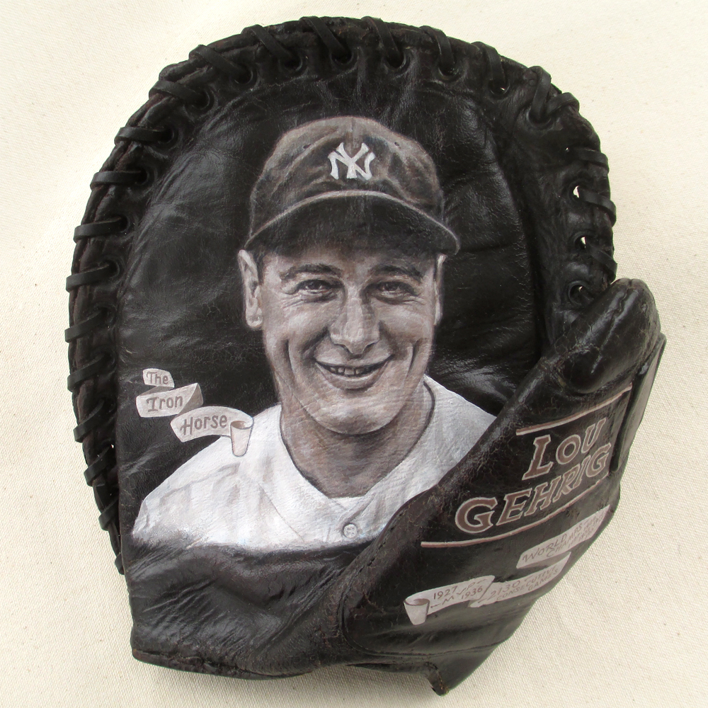Yankees Lou Gehrig on 1920s mitt, Framed [SOLD]  Info >