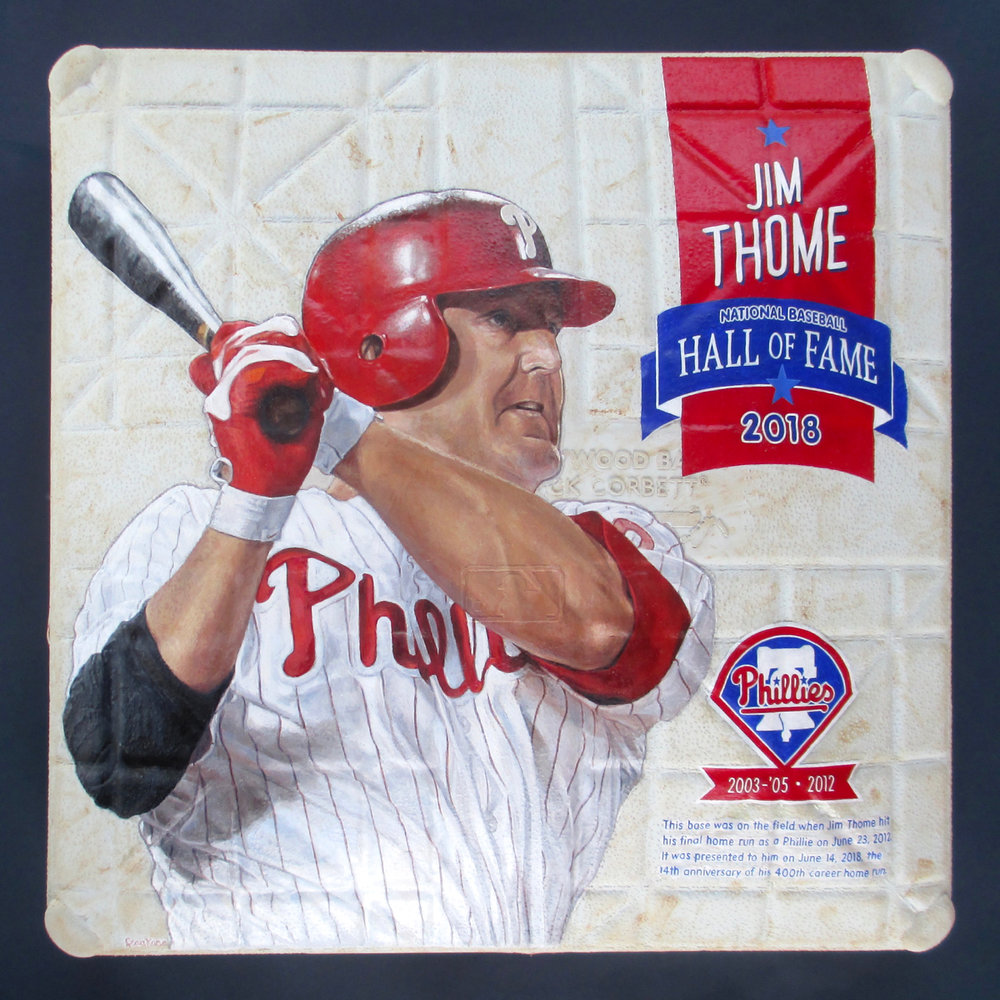 Jim Thome on Game-used Base Art presented to him by Phillies [SOLD]  Info >