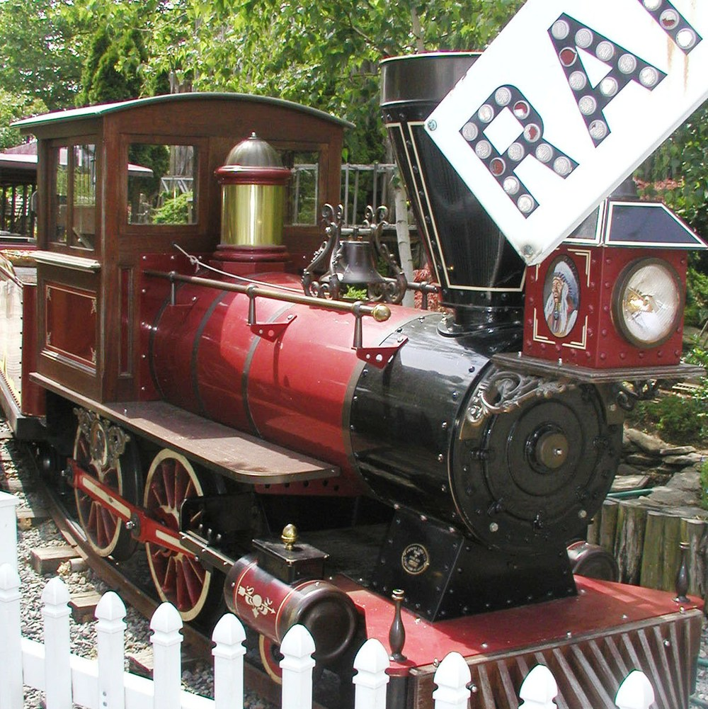 The 600' long Arrow River Train Ride holds up to 38 children or 22 adults.