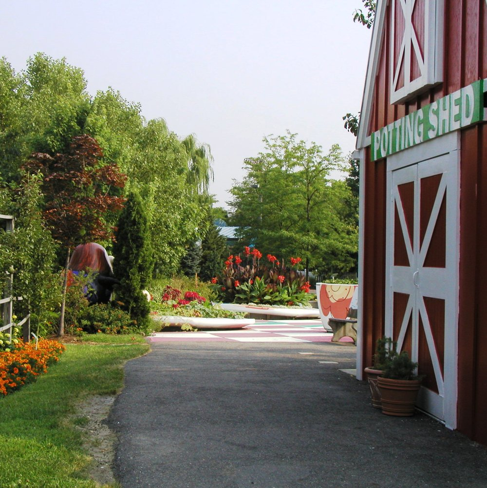 Enter the Potting Shed to learn all about food. Inside you will find the exhibit, Food: From Farm to Family. Parents relax on a bench while children play in one of three areas in including the farm, the farm market, and the family kitchen.