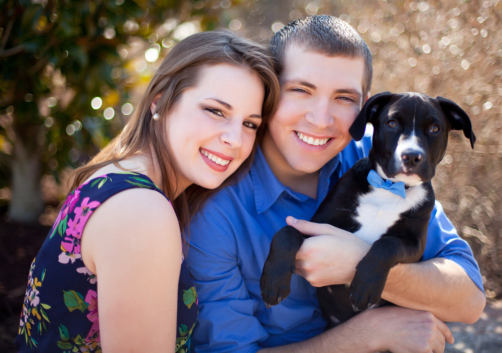 A Couple & their Puppy at their Joyner Park Engagement Session