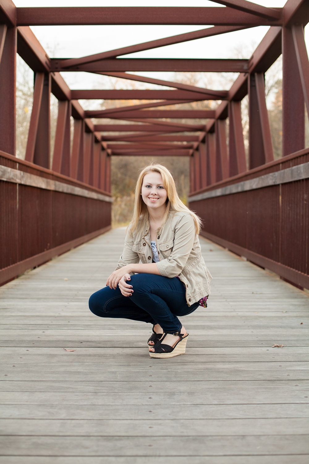 Rustic Senior Portraits on a Bridge in NC