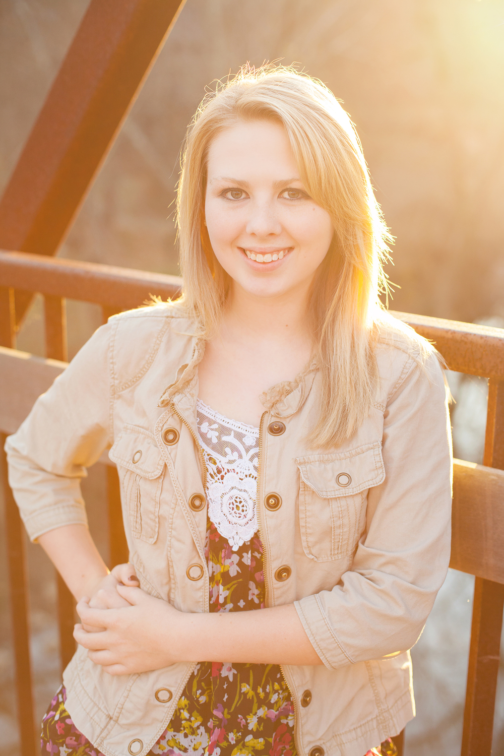 Senior Portrait Photography with Sun Flare in Durham, NC