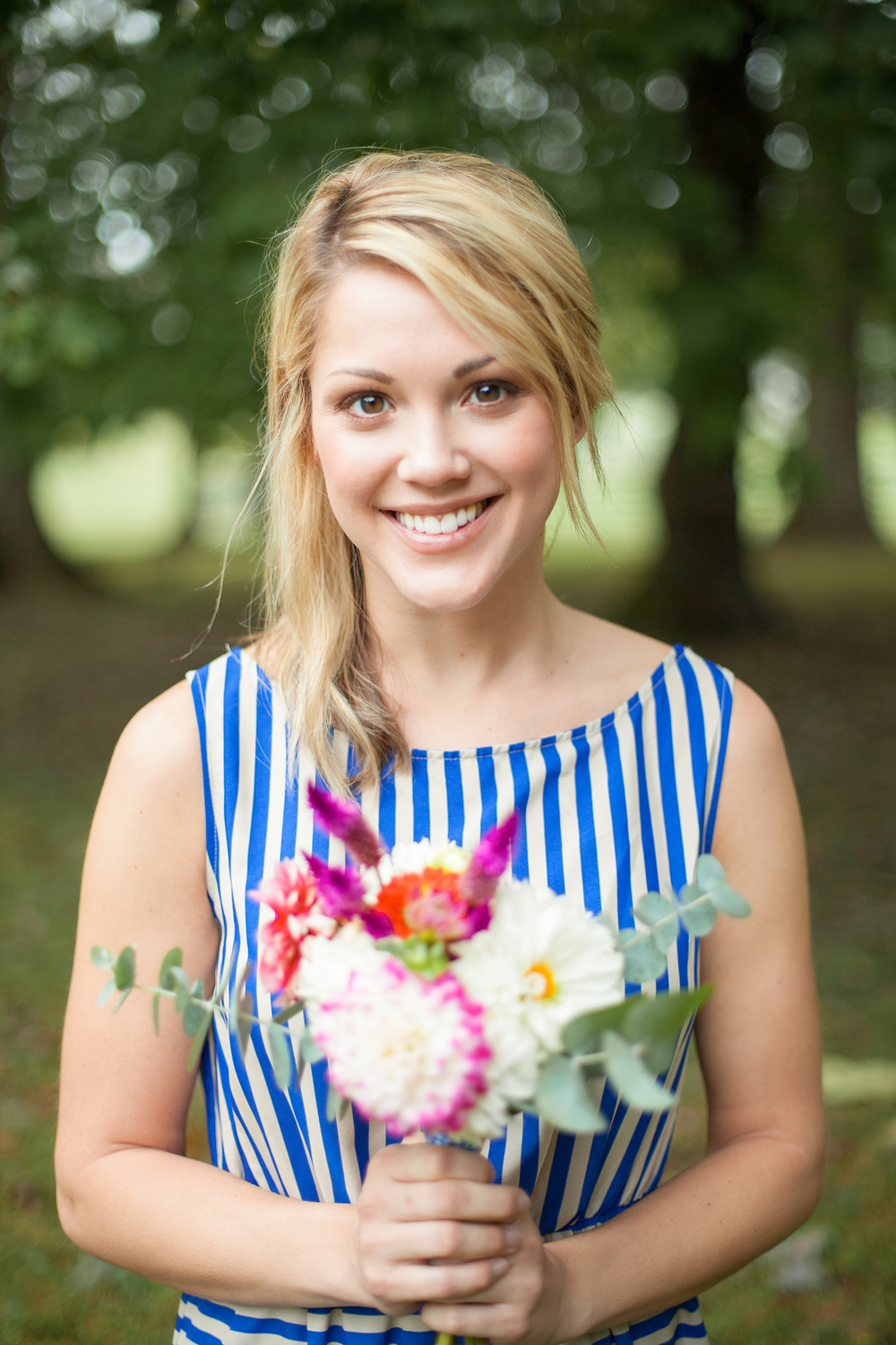 Gorgeous Blonde Bridesmaid in a Gown from LaMaLu Boutique