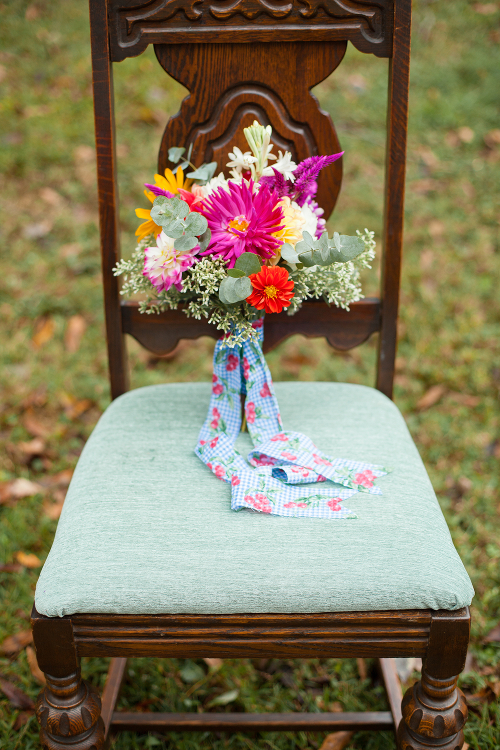 A Bridal Bouquet on a Chair from Simply Put Vintage Rentals
