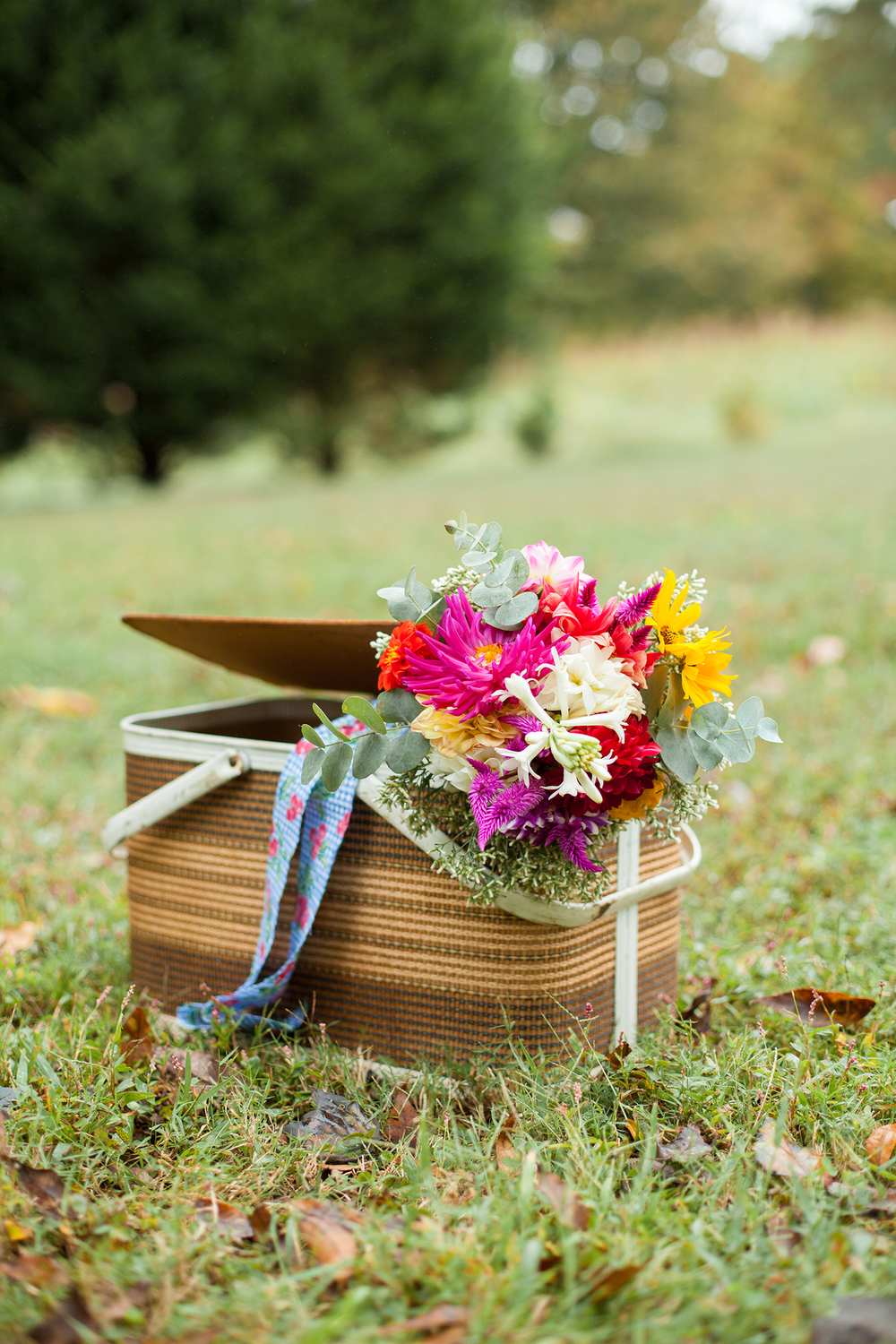 Fabulous Wedding Bouquet in a Picnic Basket in Durham