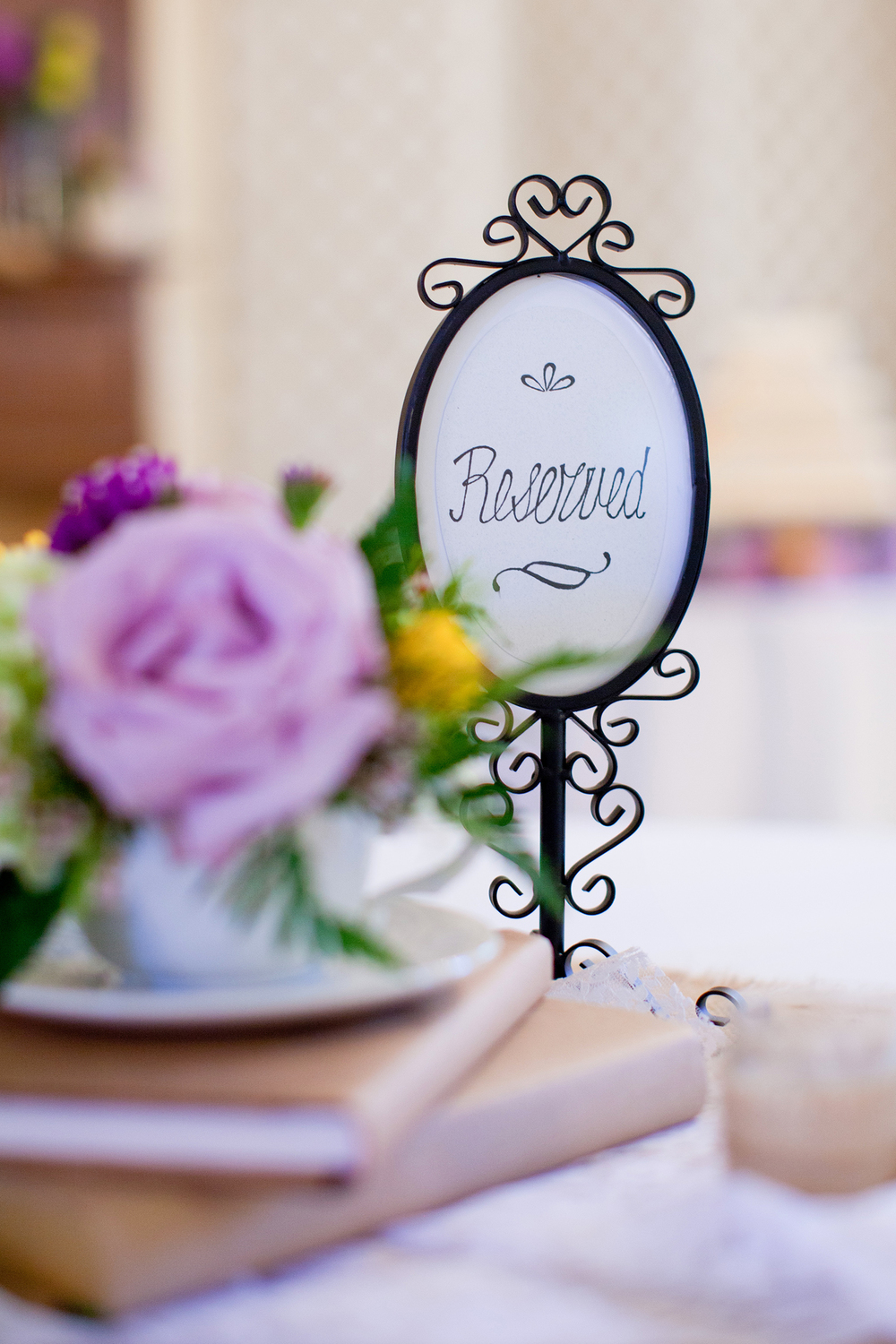 A Reserved Sign on a Table at a Wedding