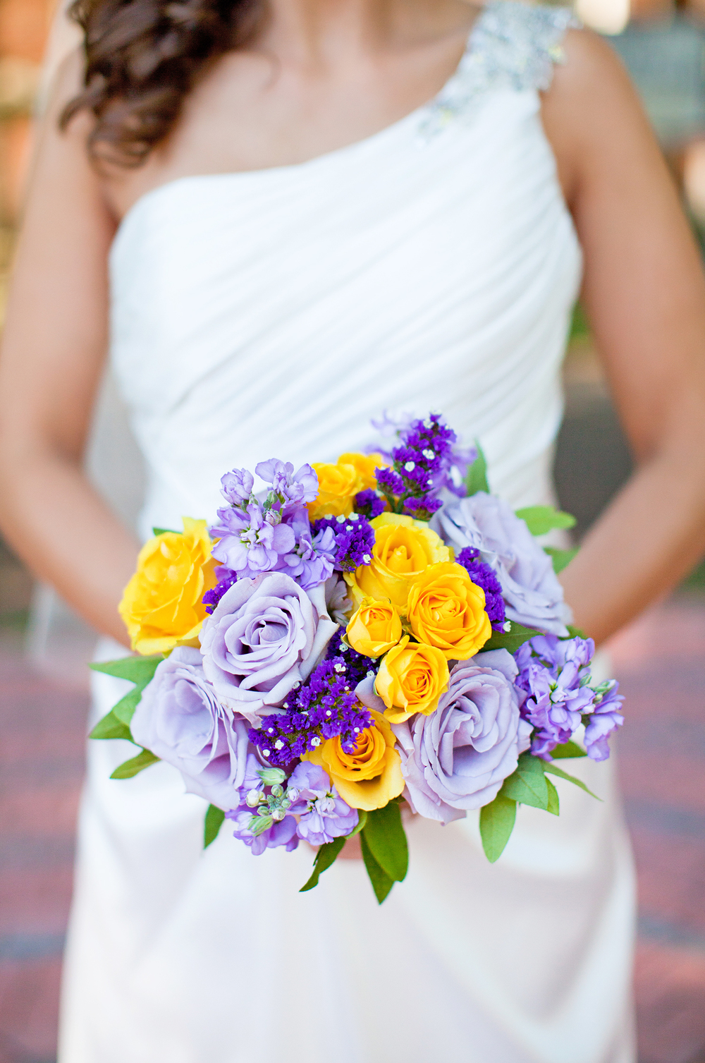 A Yellow & Purple Rose Bouquet