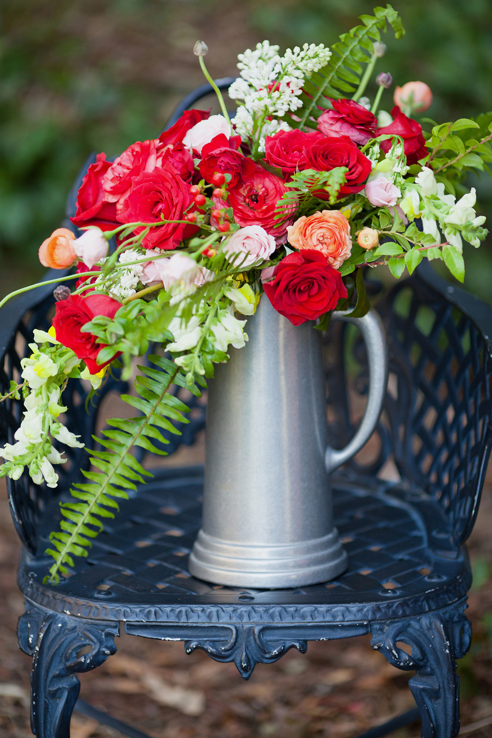 Red Rose & Ranunculus Centerpiece in Raleigh, NC