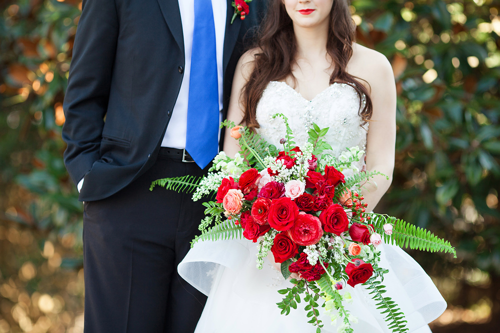 Red Rose Bouquet & Alfred Angelo Belle Gown from Maggi Bridal