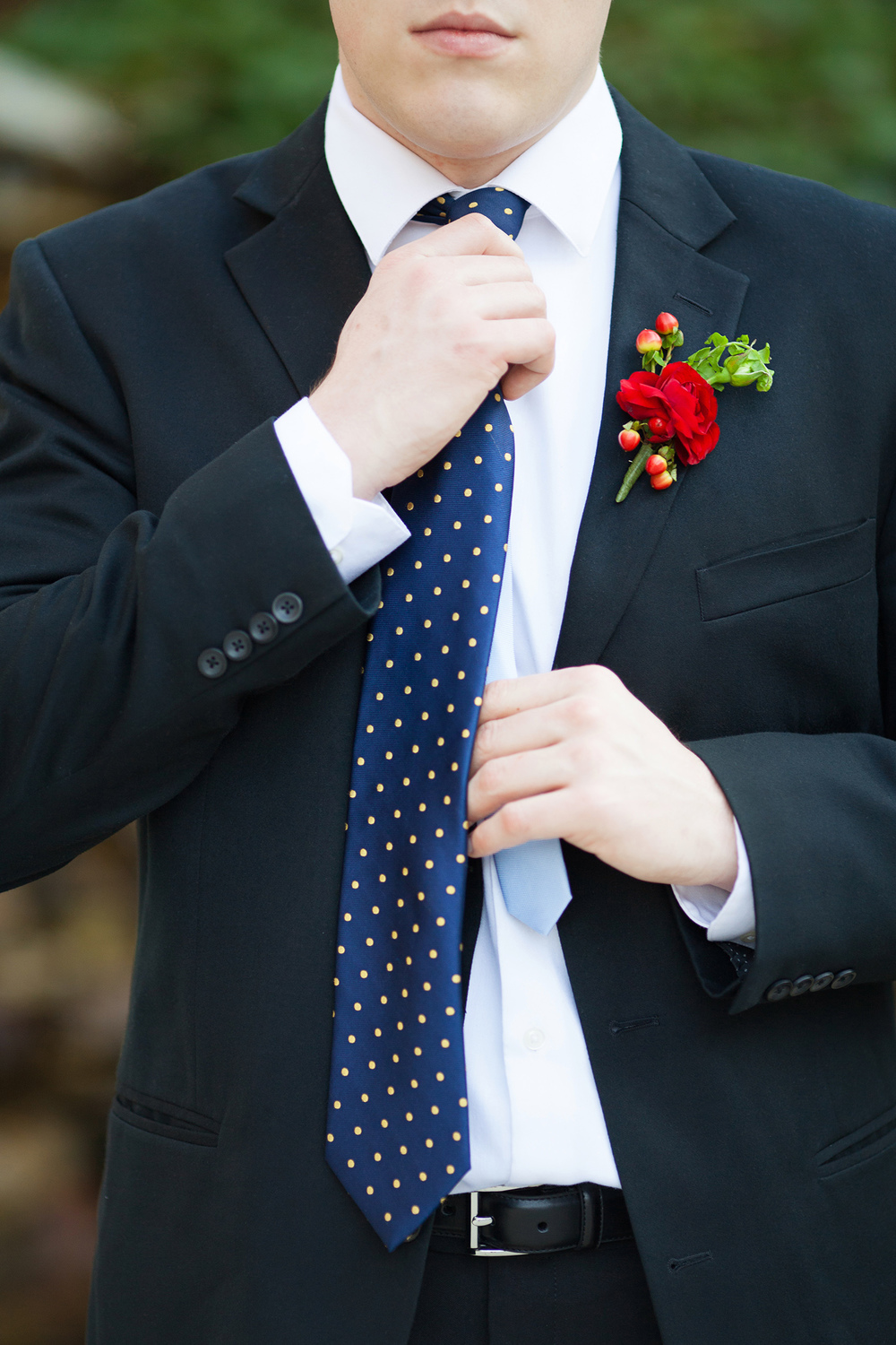 Blue, Yellow, & Red Groomsmen Tie & Boutonniere